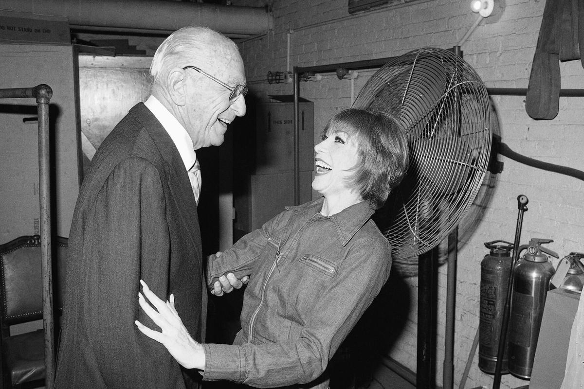 Actress Shirley MacLaine Greeting George Abbott