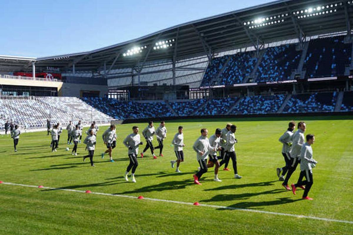 Minnesota United players practice on March 10, 2020 at Allianz Field just a few days before games were halted due to the coronavirus pandemic.