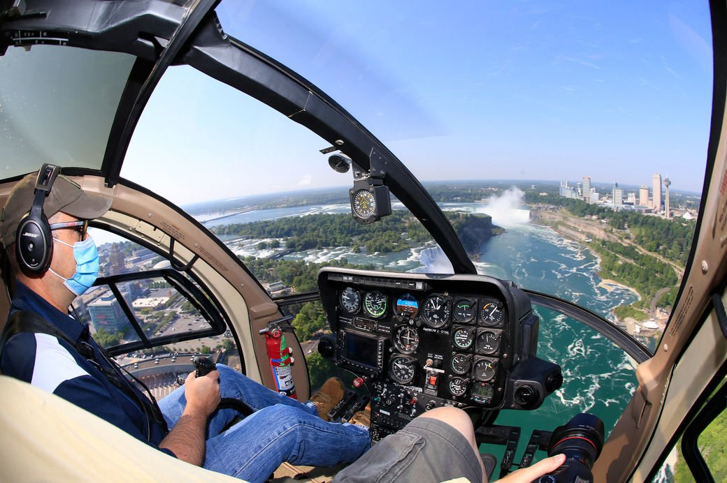 A view of Niagara Falls from the air, by boat and on foot