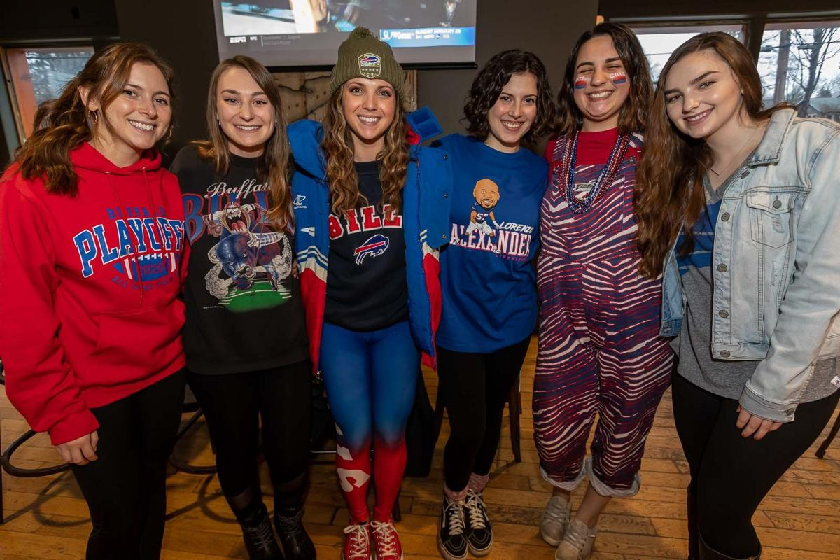 Smiles at Bills wild-card watch party at 42 North Brewing Co.