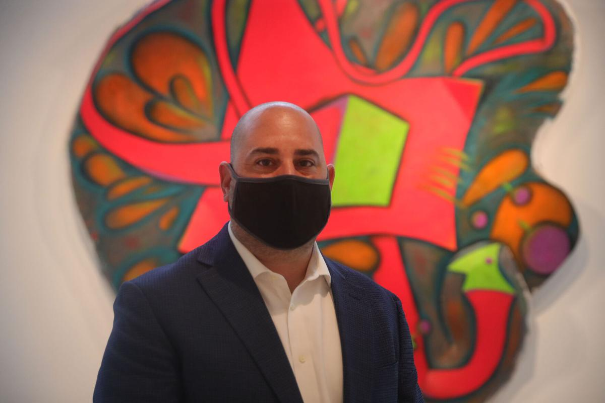 Scalise. Director at UB Art Galleries at Elizabeth Murray exhibition (copy)