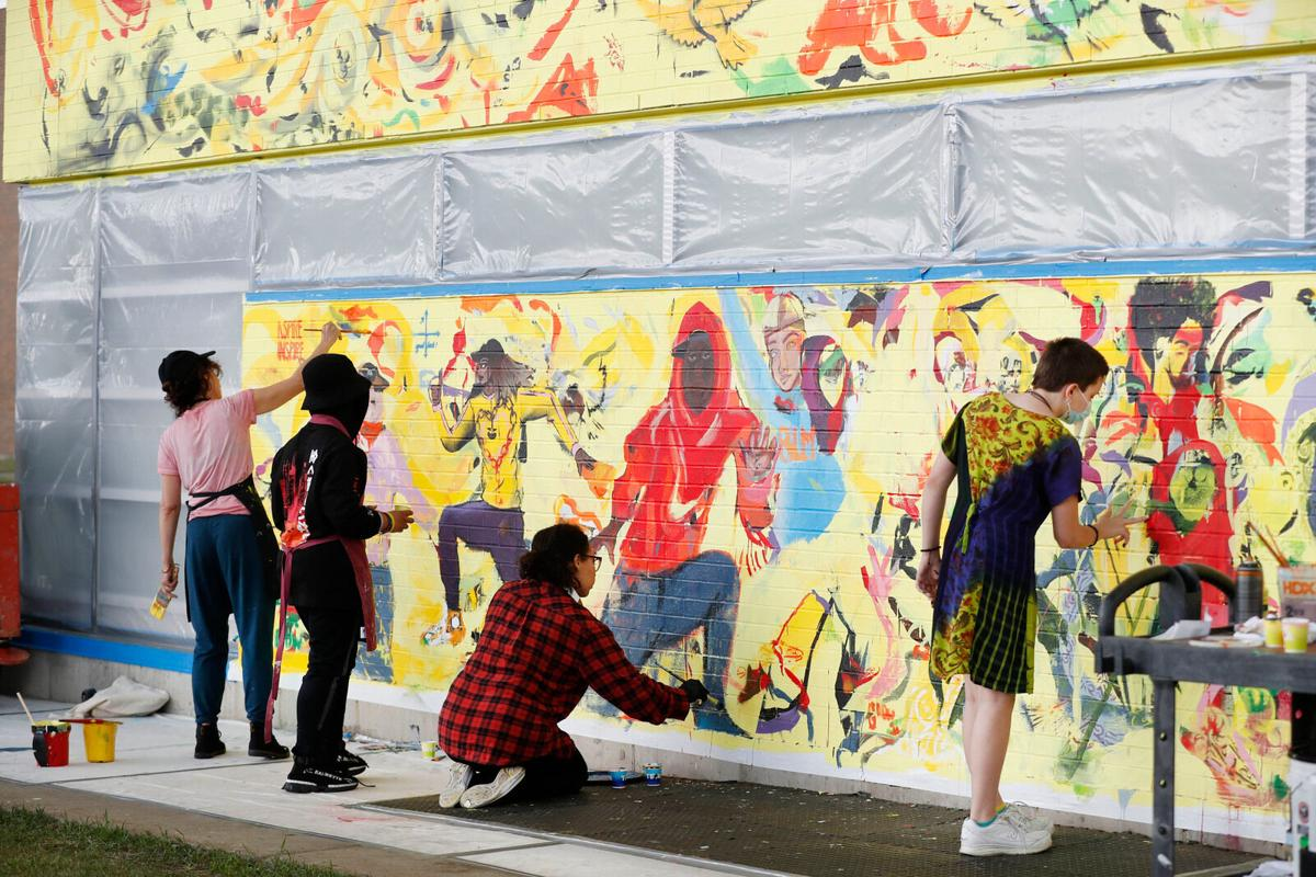 Cecily Brown mural (copy) and students Flight of the Chickadee