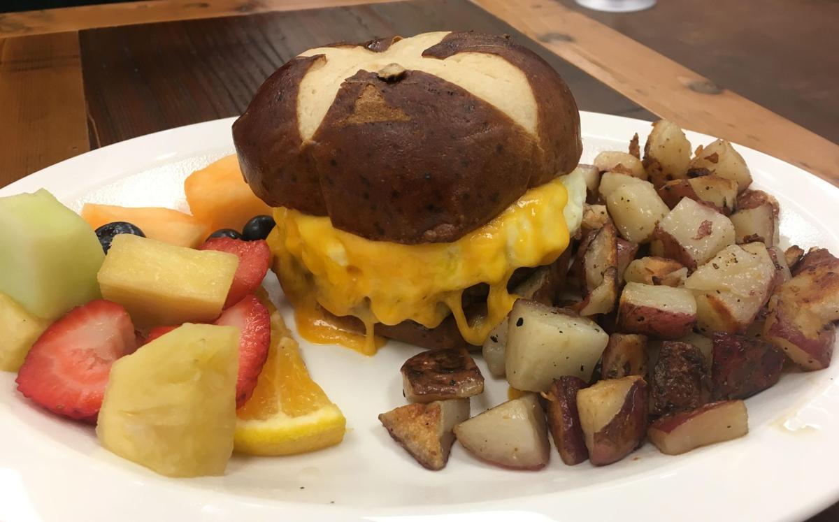 The Pretzel breakfast sandwich Break n Eggs Creperie