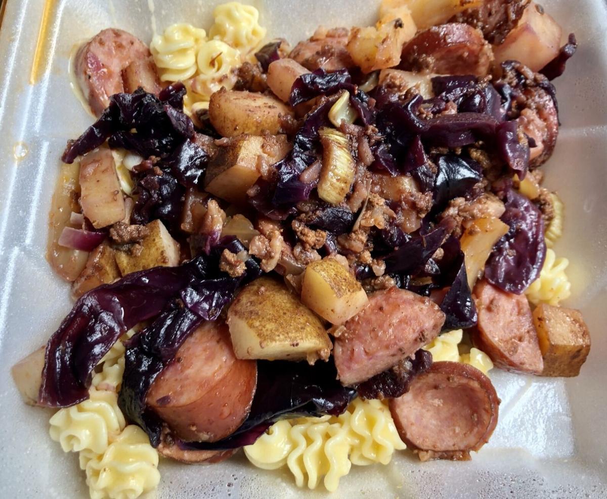 Smoked Polish sausage garbage plate Pubski Pub