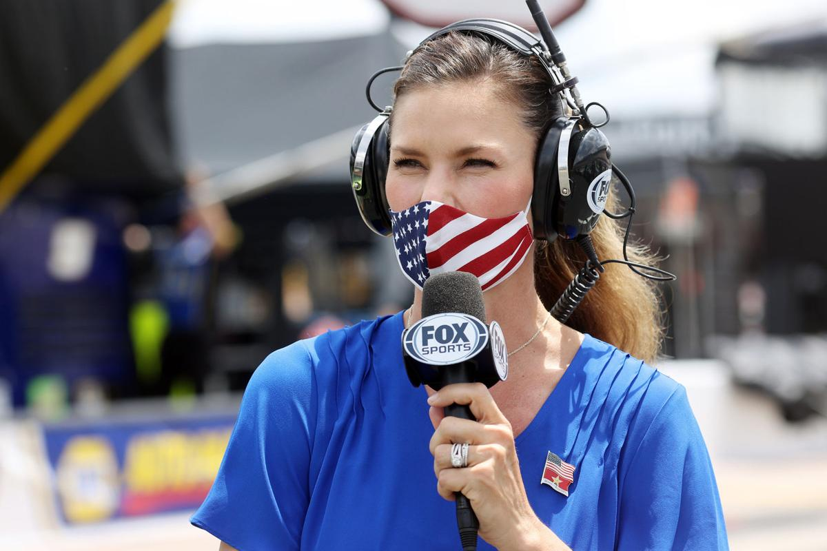 NASCAR reporter Jamie Little walks the grid during qualifying for the NASCAR Cup Series Coca-Cola 600 at Charlotte Motor Speedway on Sunday, May 24, 2020 in Concord, N.C.