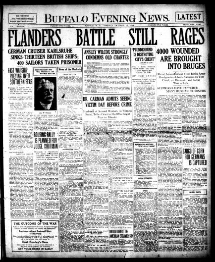 Front page Oct. 23, 1914: 'Flanders battle still rages'