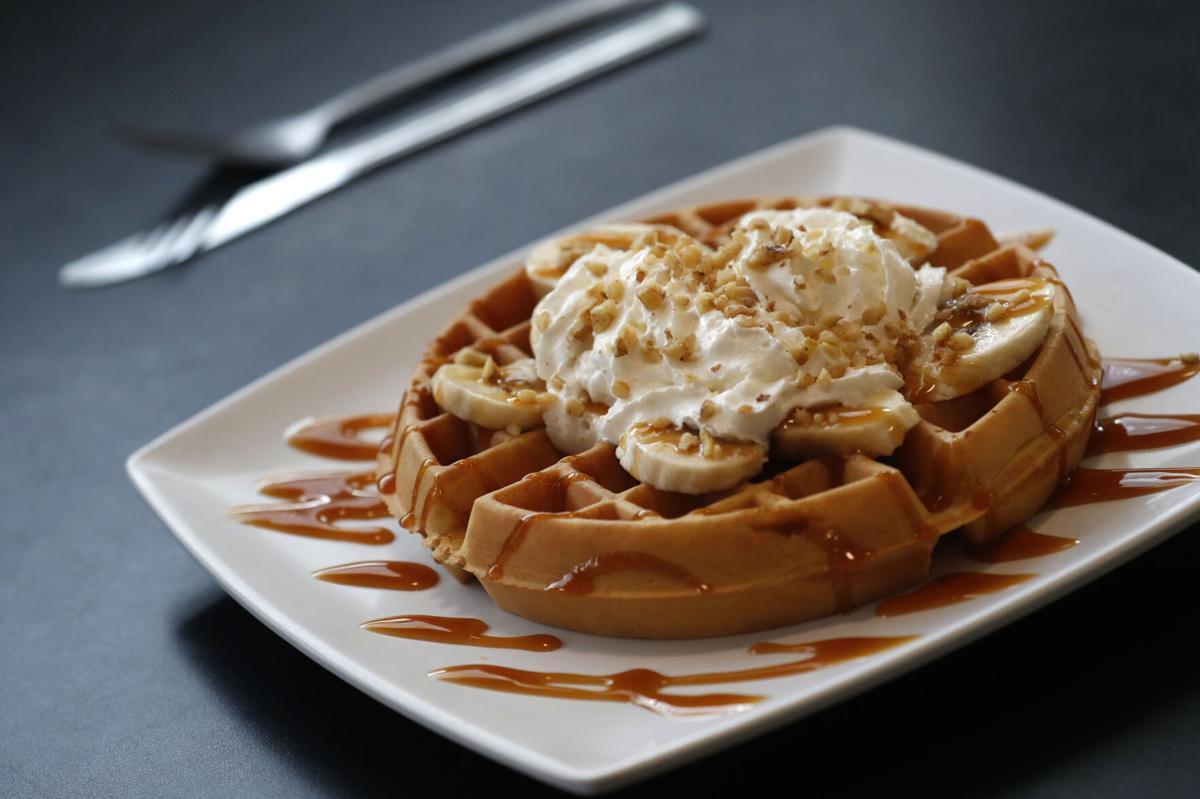 Poked Yolk caramel banana waffle