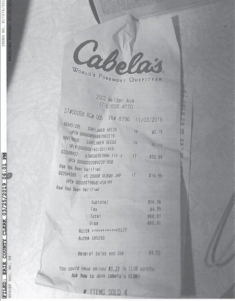 cabela's receipt King lawsuit Klocek