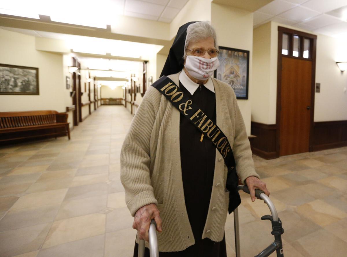 Sister Ursuline 100th birthday vaccination