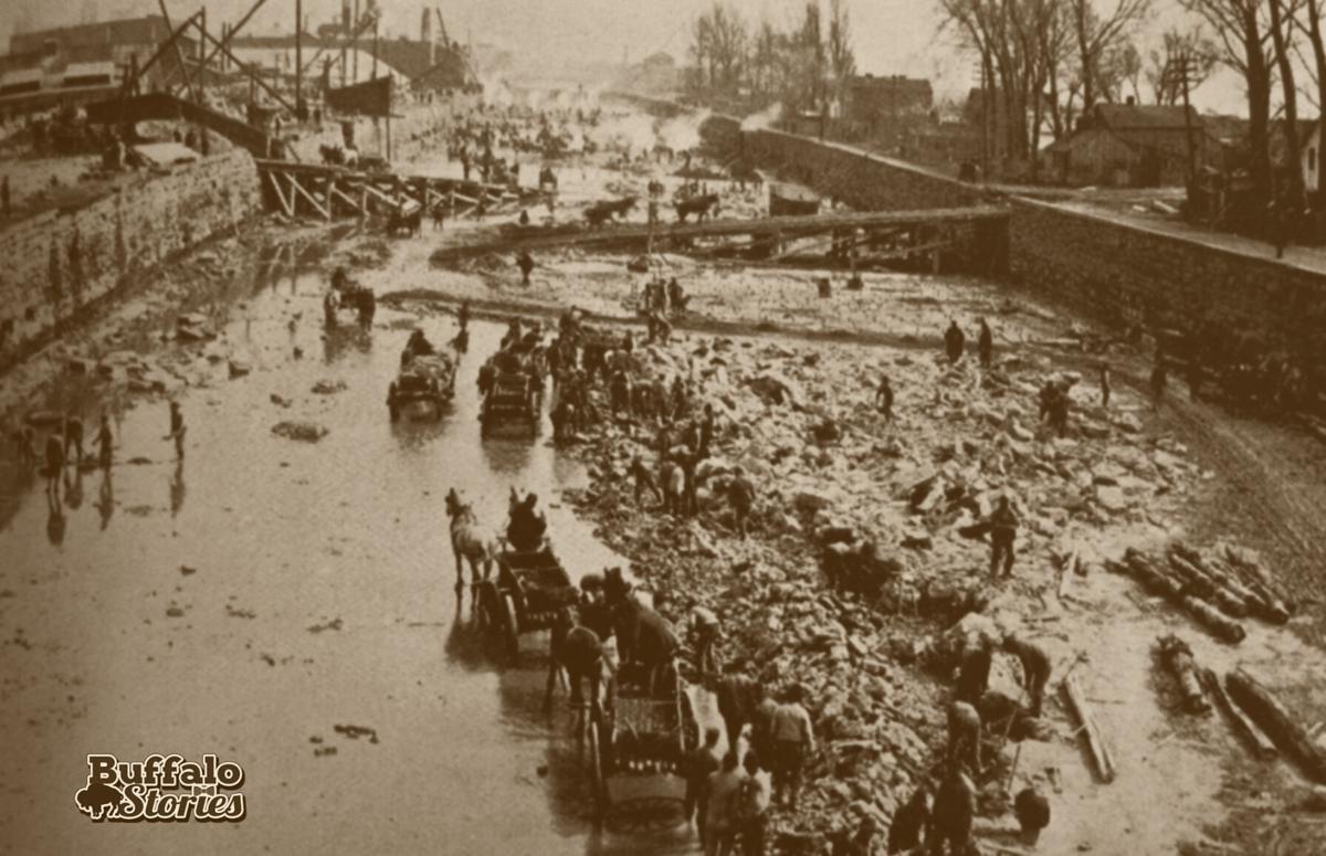 Erie Canal dredging near Jersey Street 1897.jpg