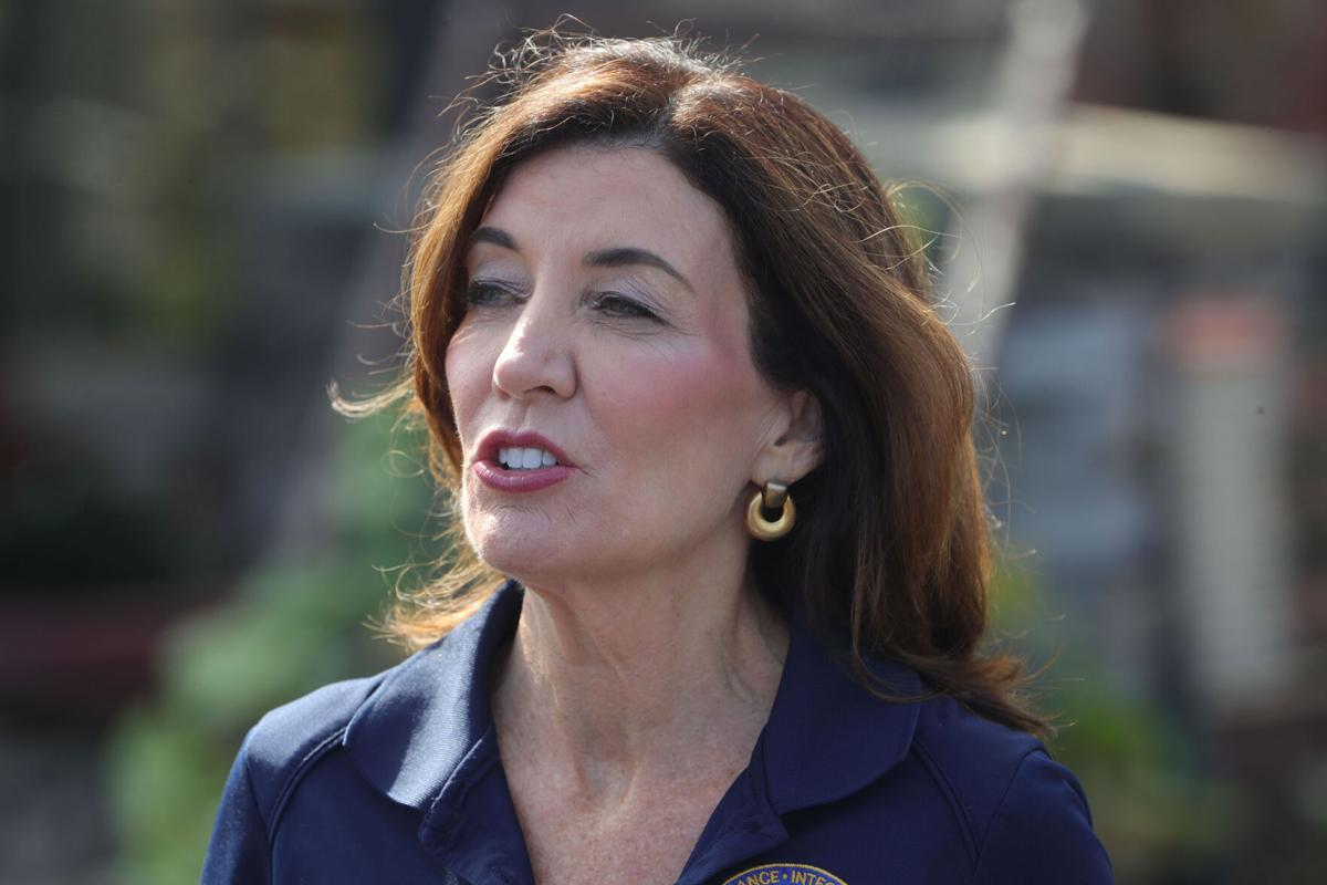 Kathy Hochul speaks to reporters