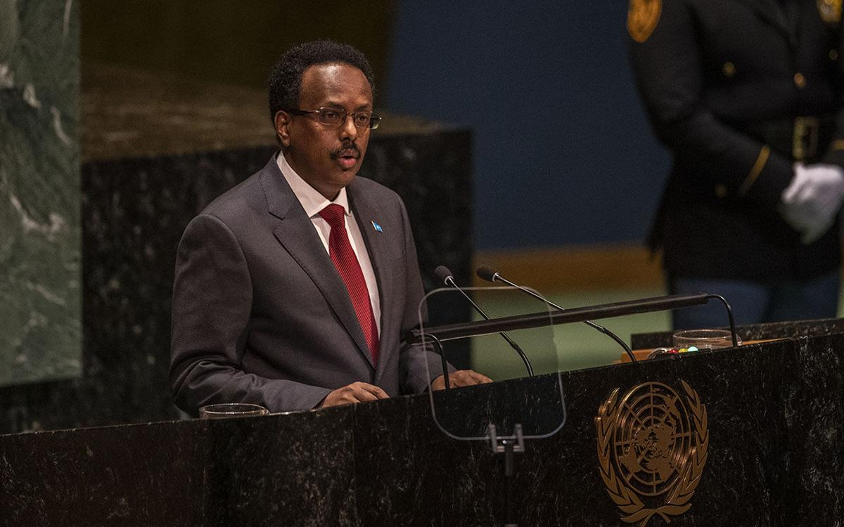 President Mohamed Abdullahi Mohamed Farmajo of Somalia, addresses the United Nations General Assembly, on Thursday, Sept. 26, 2019, at the U.N. headquarters in New York. (Brittainy Newman/The New York Times)