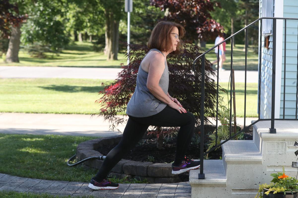 Jill Anthon exercises at home