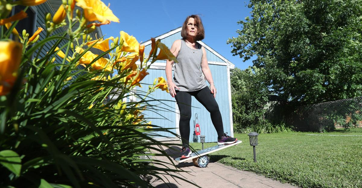 Jill Anthon works out in her backyard