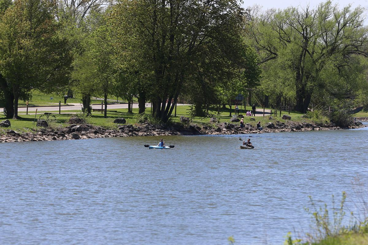 Erie Canal kayakers in Lockport