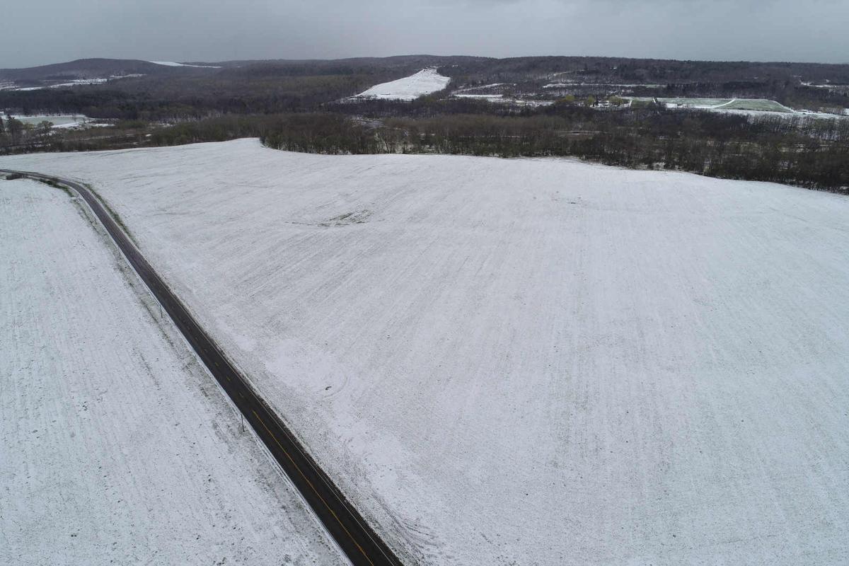 Mallards Dairy Farm aerial of land where crops are grown