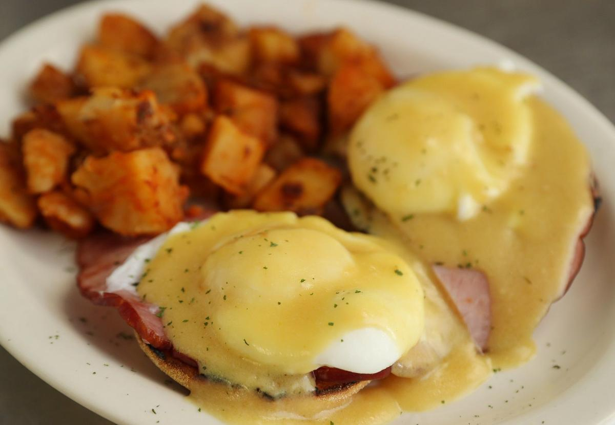 Howling Rooster eggs benedict