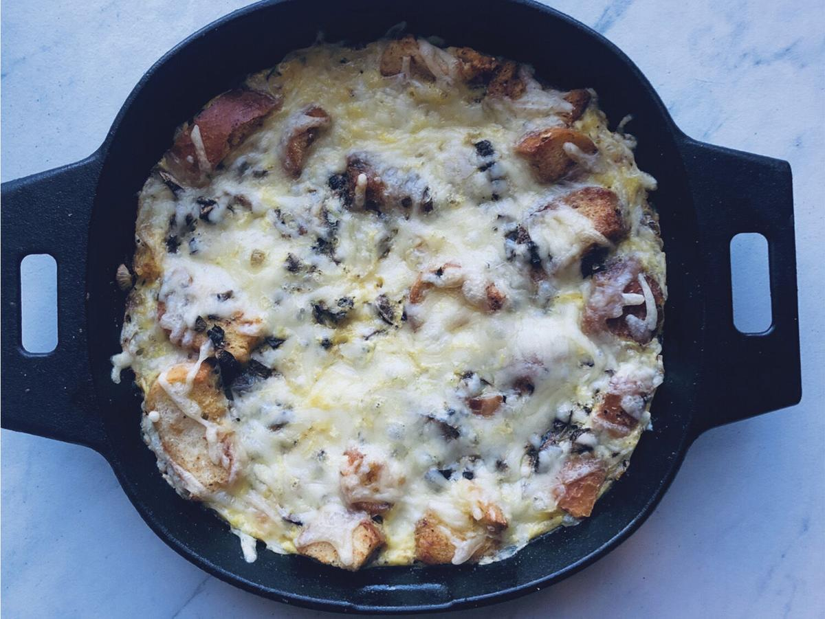 French onion and mushroom frittata
