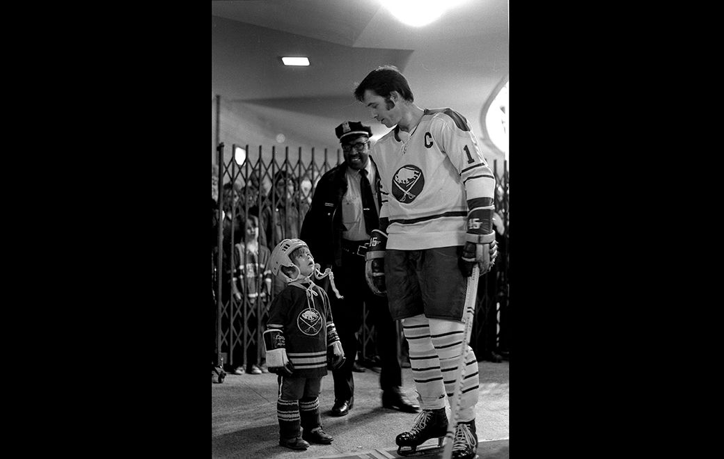 Gerry Meehan with young Sabres fan