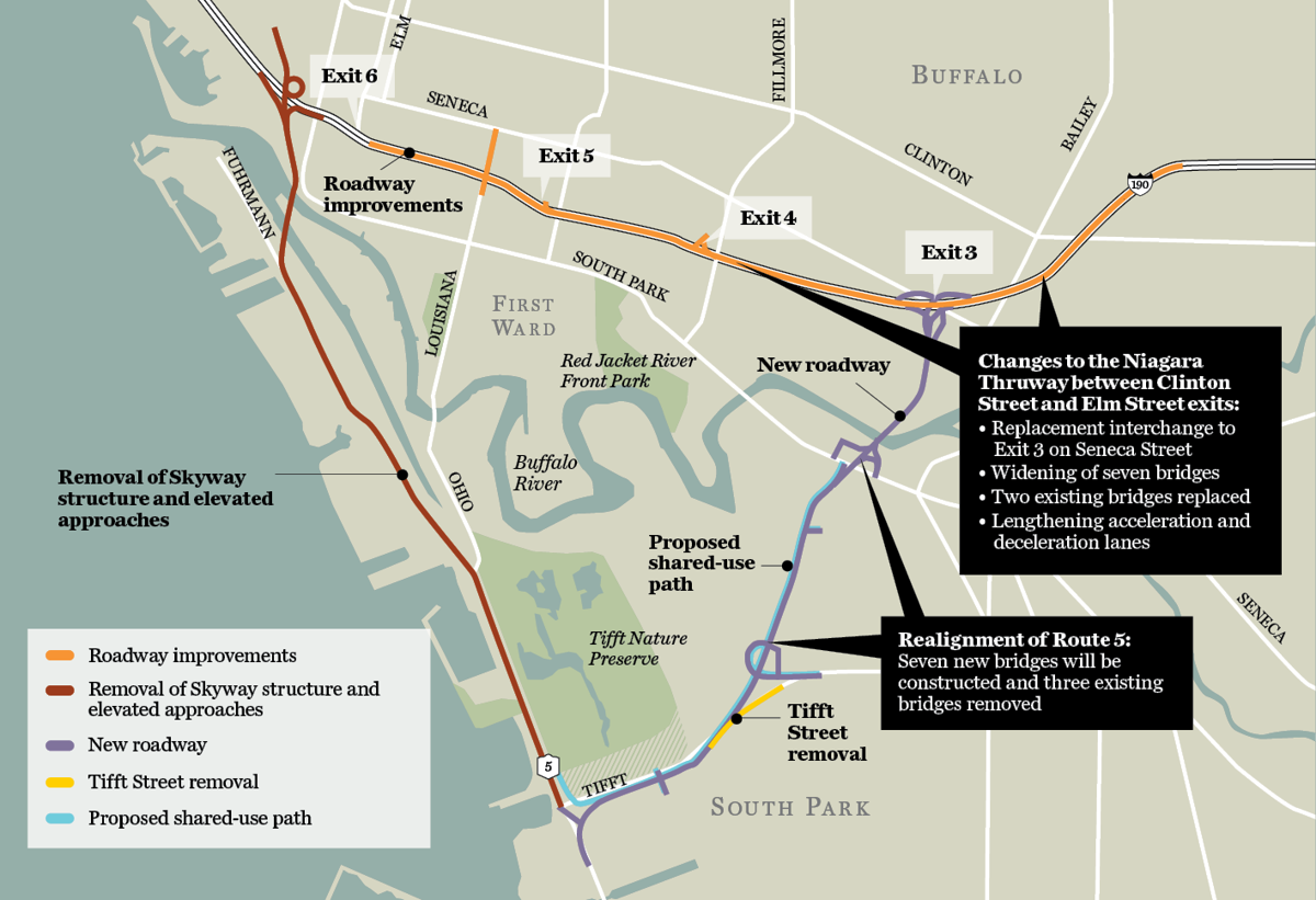 Skyway map for boulevard proposal