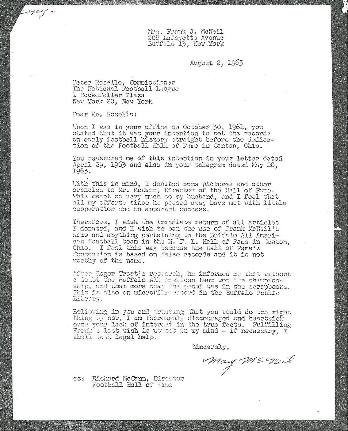 Mary McNeil Letter