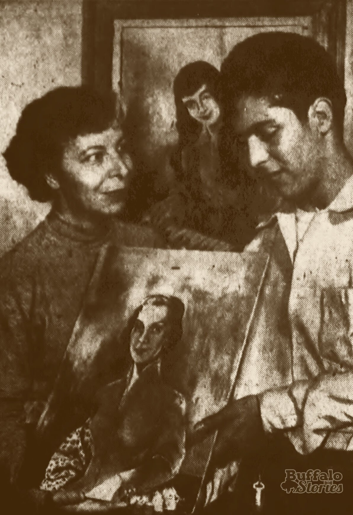 Spain Rodriguez and his mother, Buffalo artist Steve Nomi