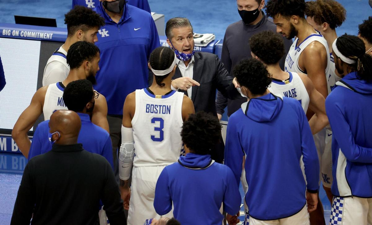 John Calipari the head coach of the Kentucky Wildcats gives instructions to his team against the Vanderbilt Commodores at Rupp Arena on January 05, 2021 in Lexington, Kentucky.