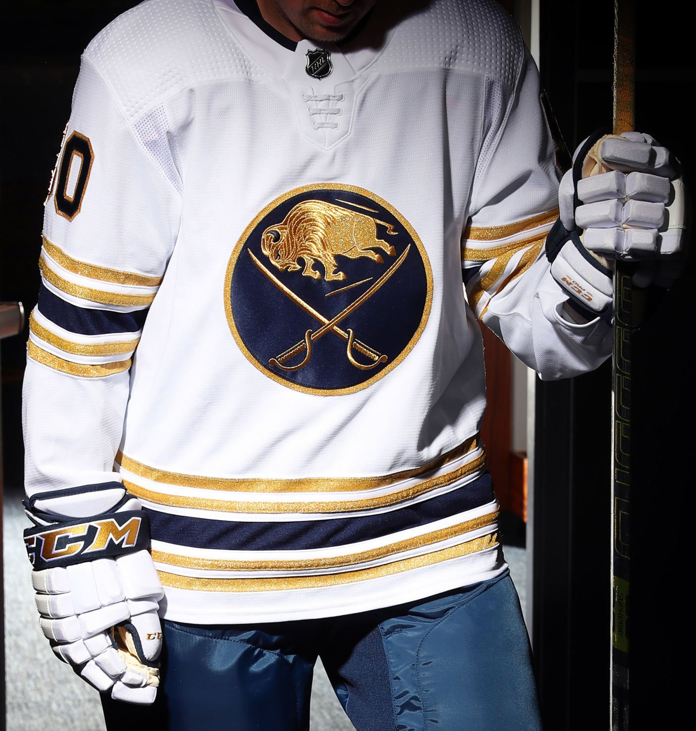 Sabres' 50th anniversary uniform features gold accents, white ...