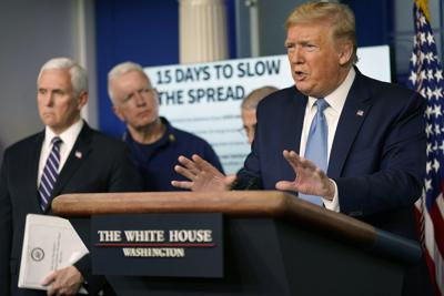 President Donald Trump speaks to reporters in the White House briefing room on Monday, March 16, 2020. (Doug Mills/The New York Times)