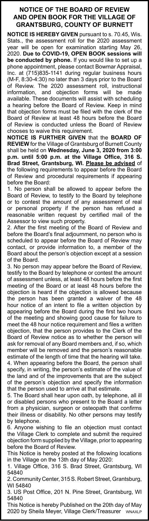Village of Grantsburg - Board of Review