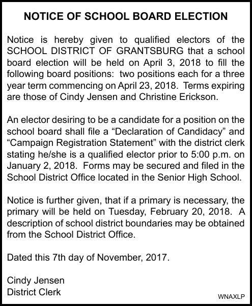 Grantsburg Schools - Notice of Election
