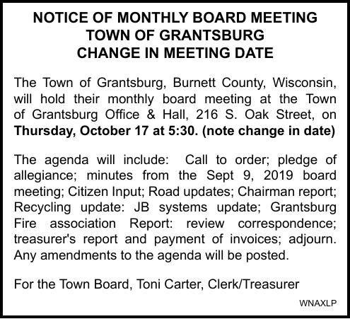 Town of Grantsburg - Meeting Notice (Date Change)