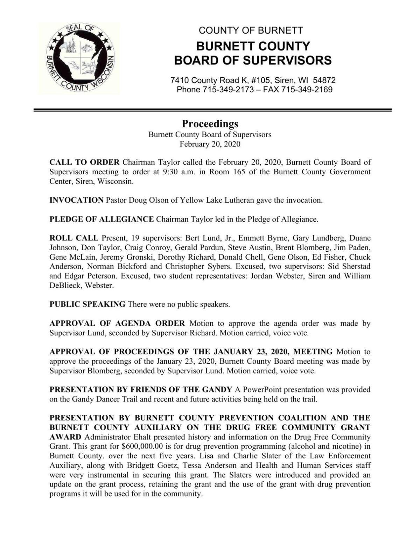 Burnett County - Proceedings Feb 20