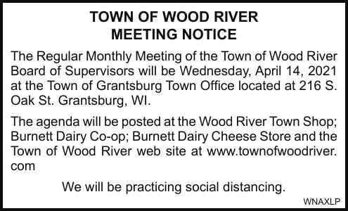TOWN OF WOOD RIVER MEETING NOTICE