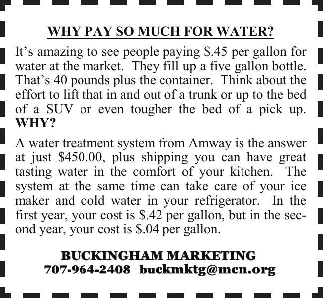 WHY PAY SO MUCH FOR WATER? WHY PAY SO