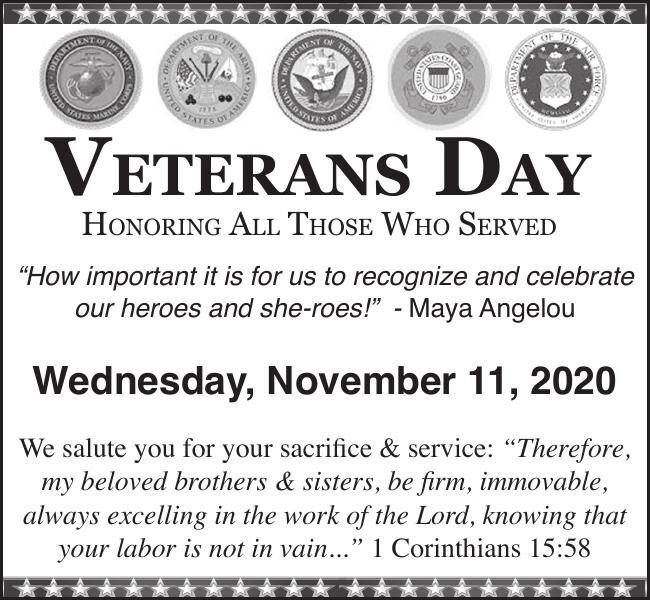 Veterans Day Honoring All Those Who