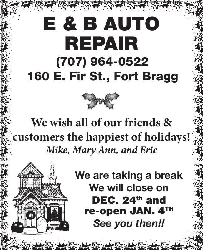 E & B Auto Repair (707) 964-0522 160 E.