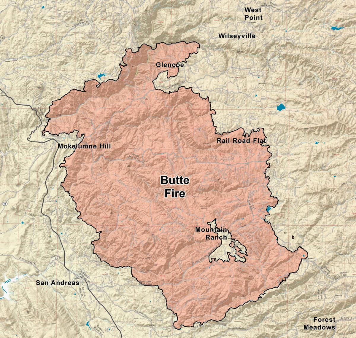 BUTTE FIRE: Thursday's fire boundary map | Calaveras County's Most