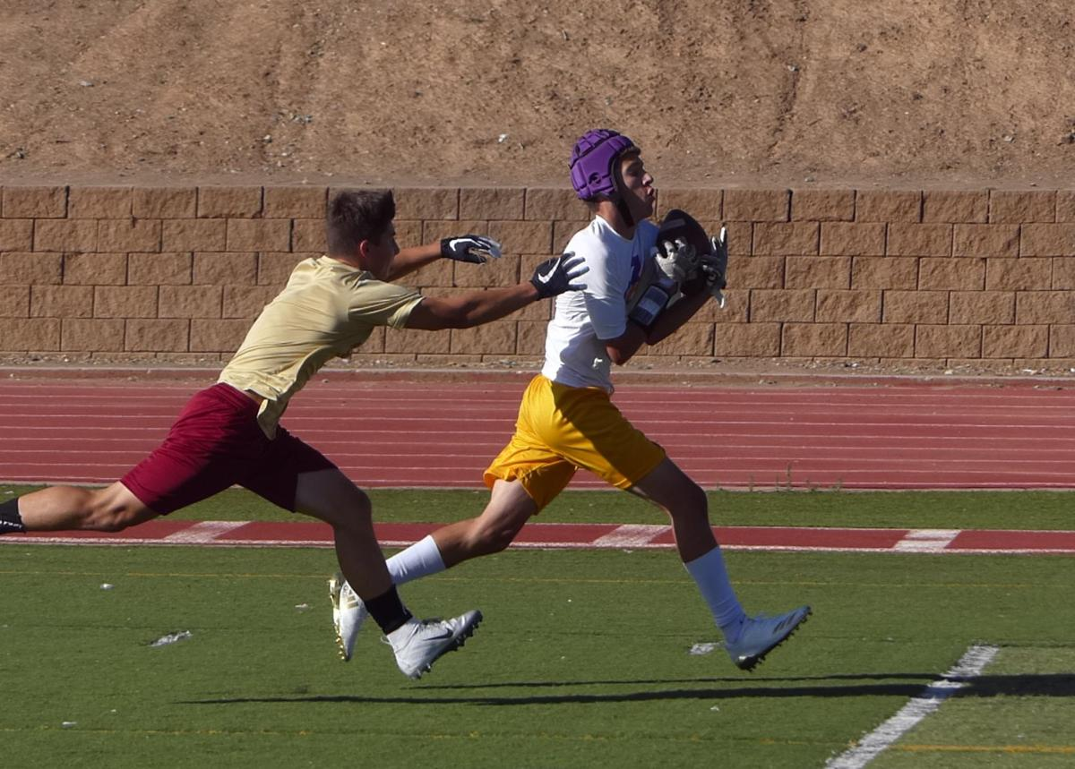 Calaveras and Bret Harte compete in 7-on-7 game