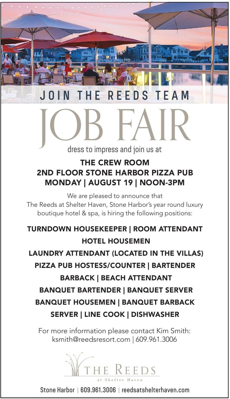 JOB FAIR MON., AUG. 19, NOON - 3PM