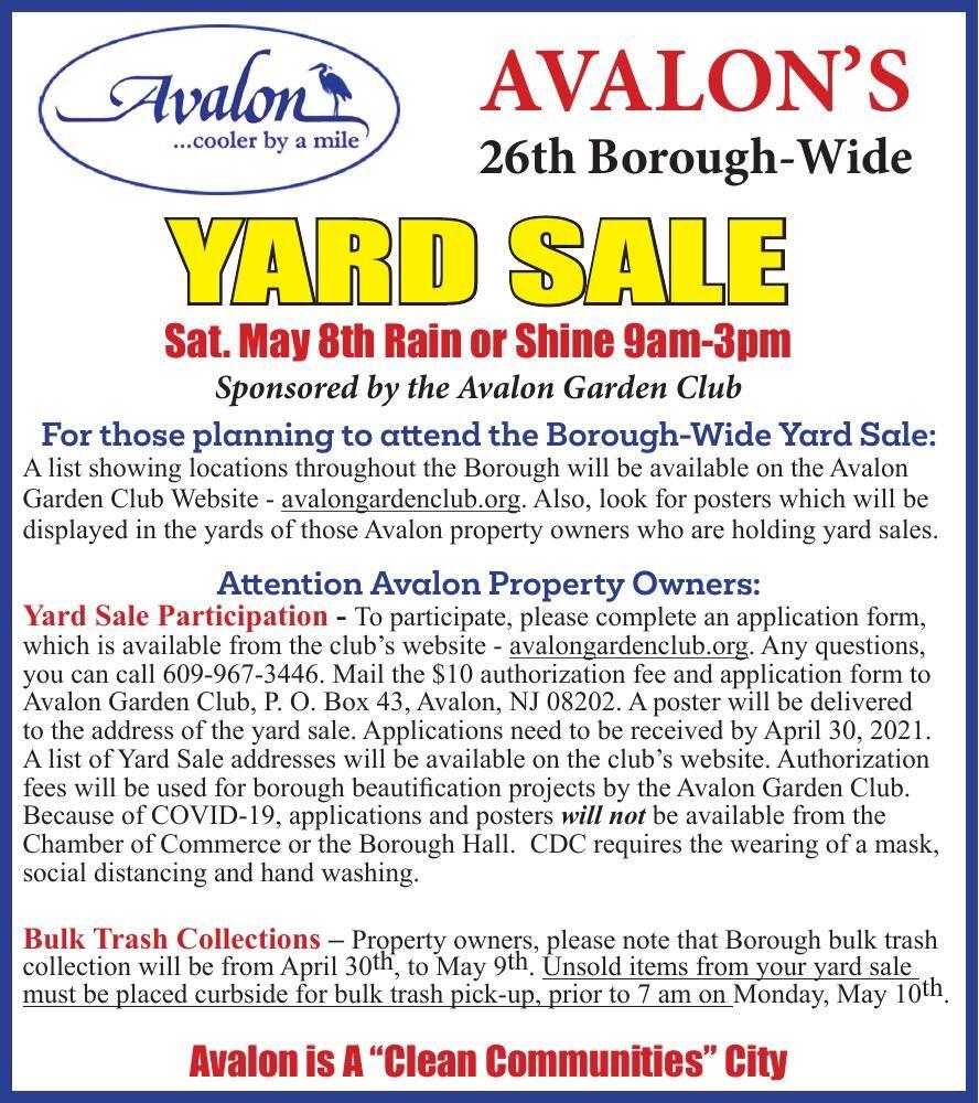 Borough of Avalon BOROUGH WIDE YARD SALE