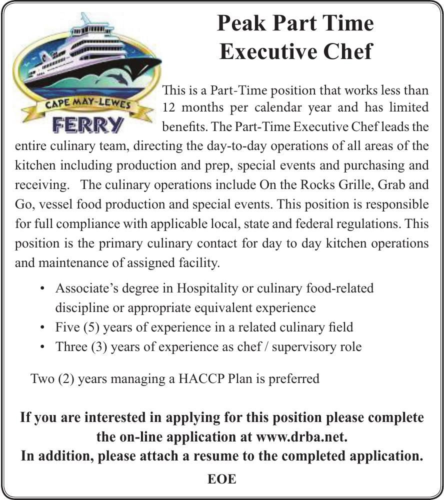 Peak Part Time Executive Chef