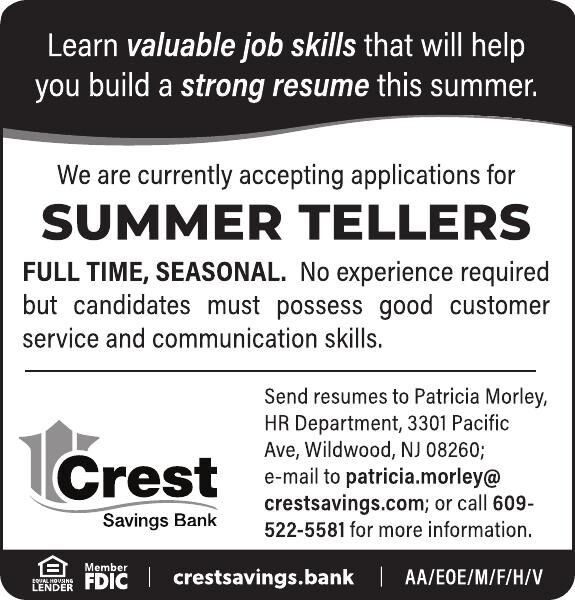 Crest Savings Bank SUMMER TELLERS