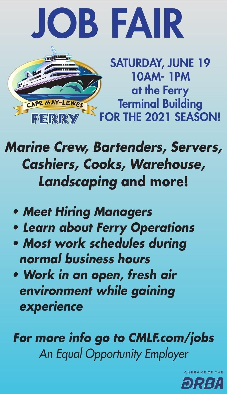 Cape May Lewis Ferry JOB FAIR June 19