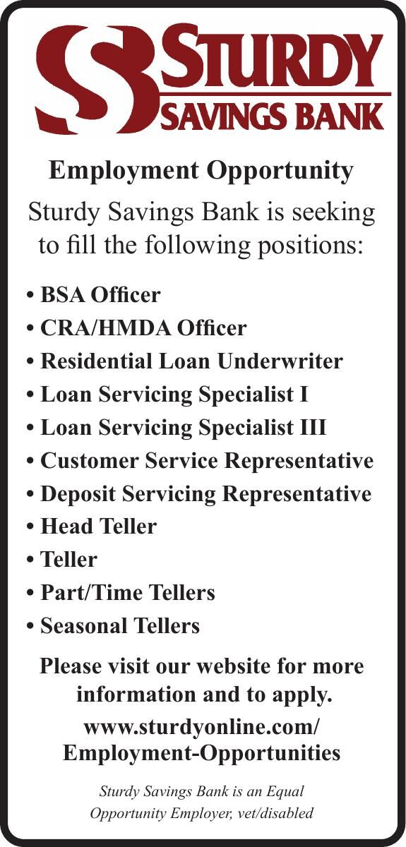 Sturdy Savings Bank- Employment Opportunity