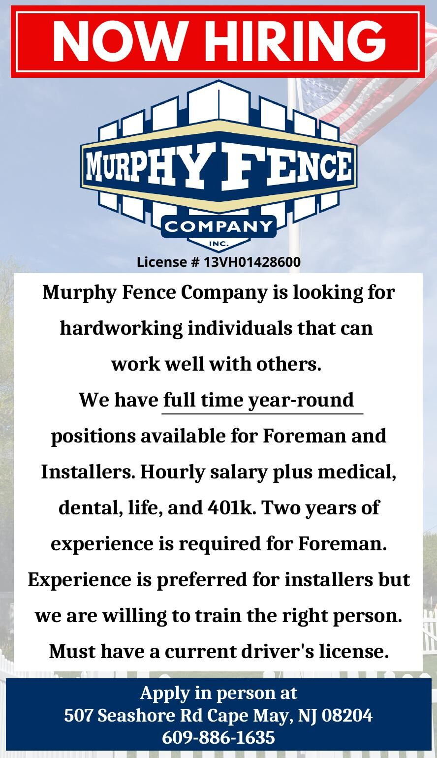 Murphy Fence FOREMAN and INSTALLERS