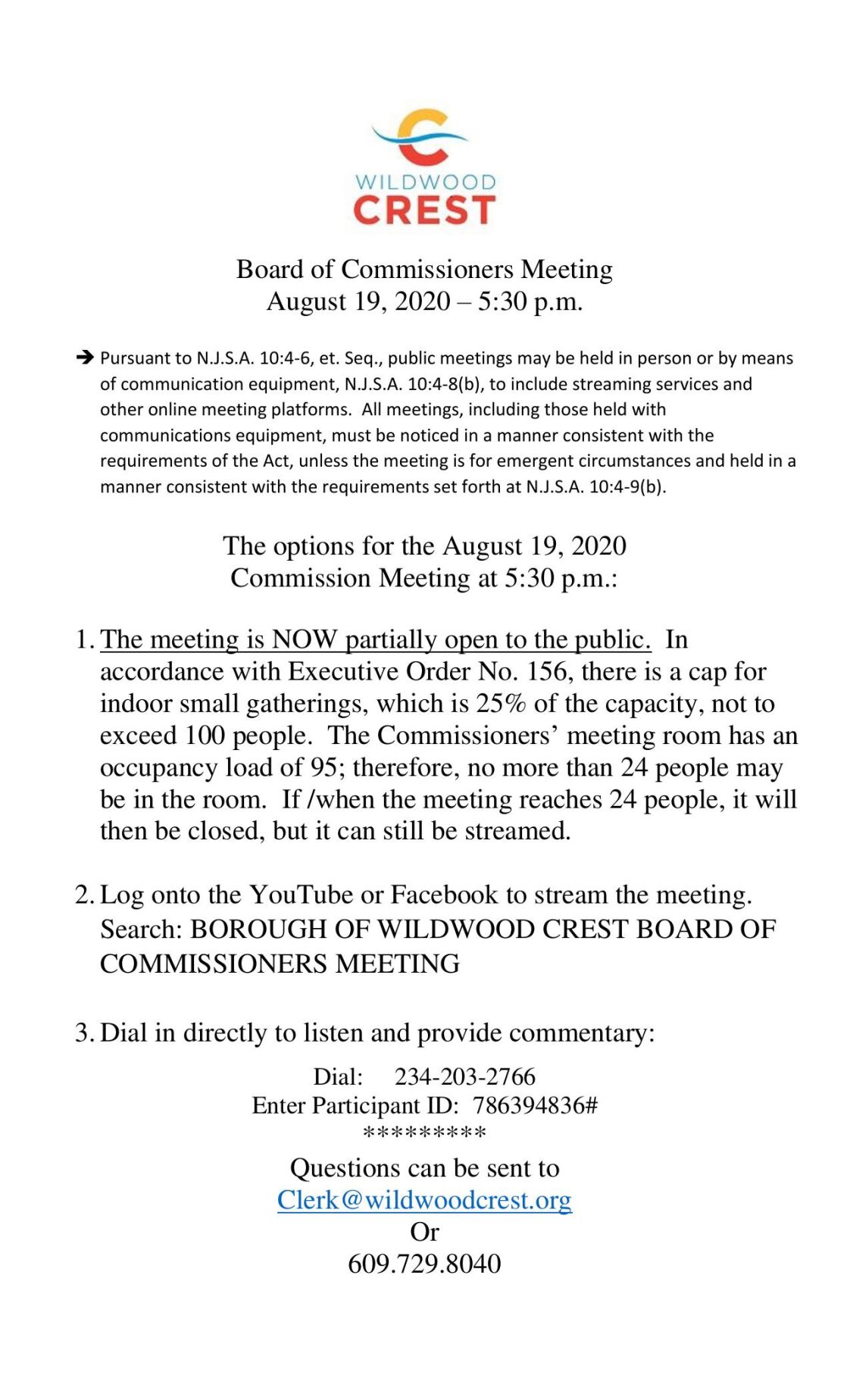 Wildwood Crest Borough Commissioners Meeting Agenda Aug. 17, 2020