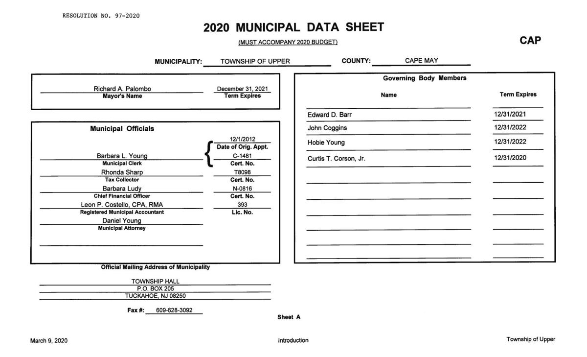 Upper Township Introduced Budget 2020