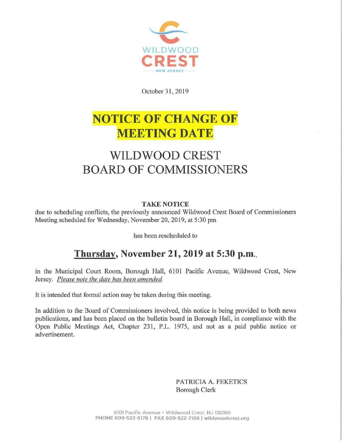 Wildwood Crest Board of Commissioners Meeting Date Change