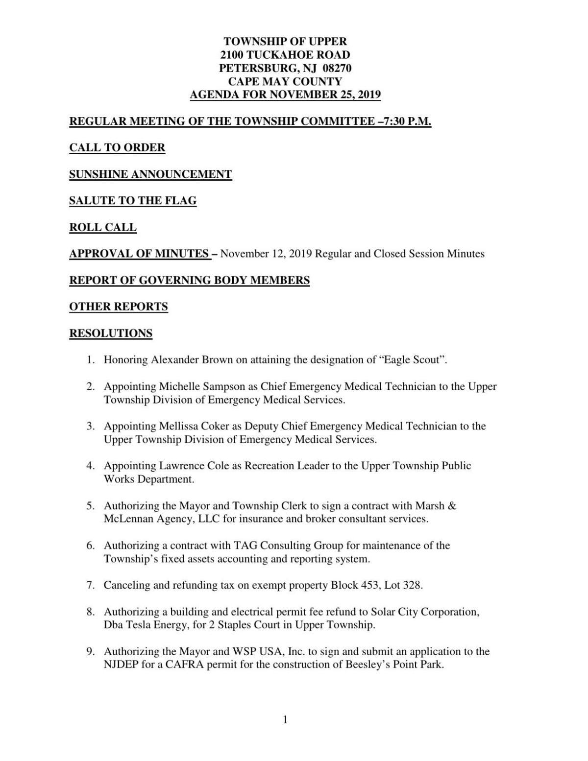 Upper Township Committee Agenda Nov. 25, 2019